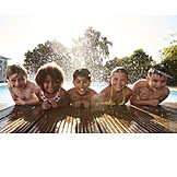Kindergruppe, Sommer, Freibad