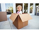 Kleinkind, Karton, Einzug, Neues Zuhause