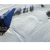 Winter, Luftaufnahme, Herz