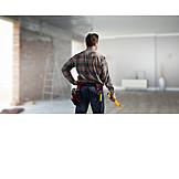 Handwerker, Baustelle, Wasserwaage
