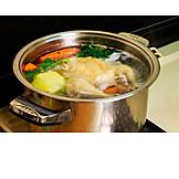 Zubereitung, Suppenhuhn, Hühnerbrühe