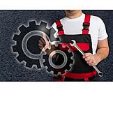 Arbeit & Beruf, Zahnrad, Handwerker, Mechaniker, Monteur