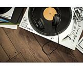Retro, Record player, Listening music