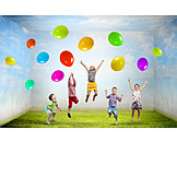 Kinder, Kindergeburtstag, Luftsprung