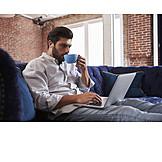 Coffee, Break, Sofa, Blogger