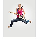 Teenager, Jumping, Playing Guitar