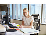 Woman, Desk, Workplace, Documentation