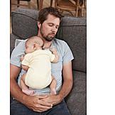 Baby, Vater, Ausruhen, Schlafen