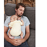 Baby, Father, Resting, Sleeping