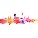 Skyline, Munich, Watercolor
