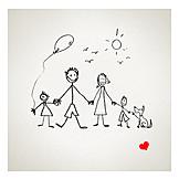 Familie, Kinder, Strichmännchen, Familienleben