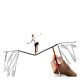 Herausforderung, Balancieren, Drahtseilakt, Karrierefrau