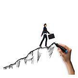 Mountain, Career, Upward, Climb, Businesswoman