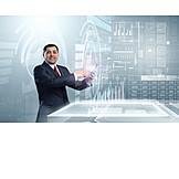 Businessman, Media, Online, Enabling, Tablet-pc, Data Analysis