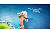 Young Woman, Bikini, Vacation Time
