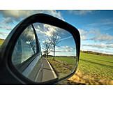 Car, Rearview Mirror, Road