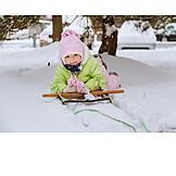 Toddler, Child, Winter, Sleigh