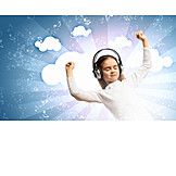 Girl, Music, Listen, Headphones