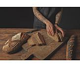 Woman, Bread, Slicing