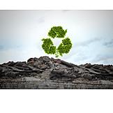 Umweltzerstörung, Recycling, Wiederverwertung, Recyclingsymbol