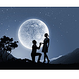 Love Couple, Full Moon, Marriage Proposal