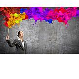 Geschäftsfrau, Farbenfroh, Kreativität, Inspiration, Gestalten