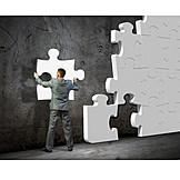 Businessman, Solution, Jigsaw Piece
