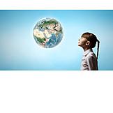 Mädchen, Zukunft, Geografie, Globus