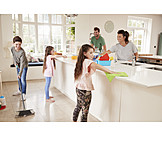 Kitchen, Family, Together, Cleaning, House Work