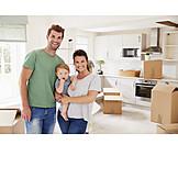 Glücklich, Familie, Einzug, Neues Zuhause