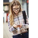 Teenager, Reading, Mobile, Schoolgirl, Message