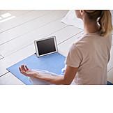Meditation, Yoga, Online, Lotussitz, Tablet-pc