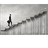 Geschäftsmann, Business, Wachstum, Gewinn, Aufstieg, Diagramm
