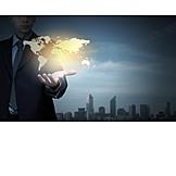 Businessman, Business, Deal, Worldwide, World Map