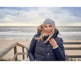 Woman, Beach Walking, Breezy