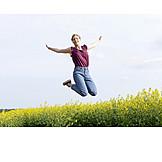 Woman, Vitality, Jumping