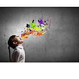 Girl, Media, Digital, Splash, Creativity, Organize