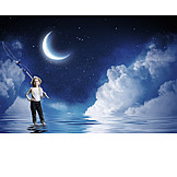 Girl, Dreams, Dreams, Water, Fishing