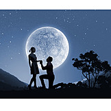 Love, Romantic, Love Couple, Full Moon, Marriage Proposal