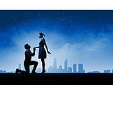 Love Couple, Stars Sky, Marriage Proposal