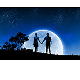 Love Couple, Full Moon, Hand In Hand, Relationship