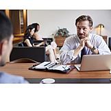 Geschäftsmann, Zuhören, Besprechung, Bewerbungsgespräch