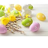 Ostern, Osterei, Ostergruß, Osterglocke, Weidenkätzchen