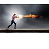 Man, Fire, Determined, Fireball