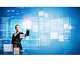 Geschäftsfrau, Touchscreen, Multimedia, Aktivieren