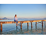 Woman, Sitting, Pier, Relaxed