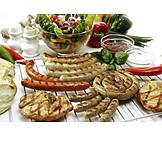 Bratwurst, Bratwurstschnecke, Grillsaison, Schweinesteak