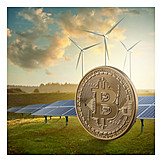 Windkraft, Energieverbrauch, Sonnenenergie, Bitcoin