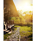Natur, Sonnenlicht, Idylle, Ufer, Blockhaus