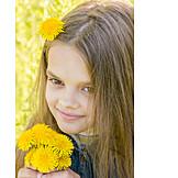 Girl, Dandelion, Bouquet
